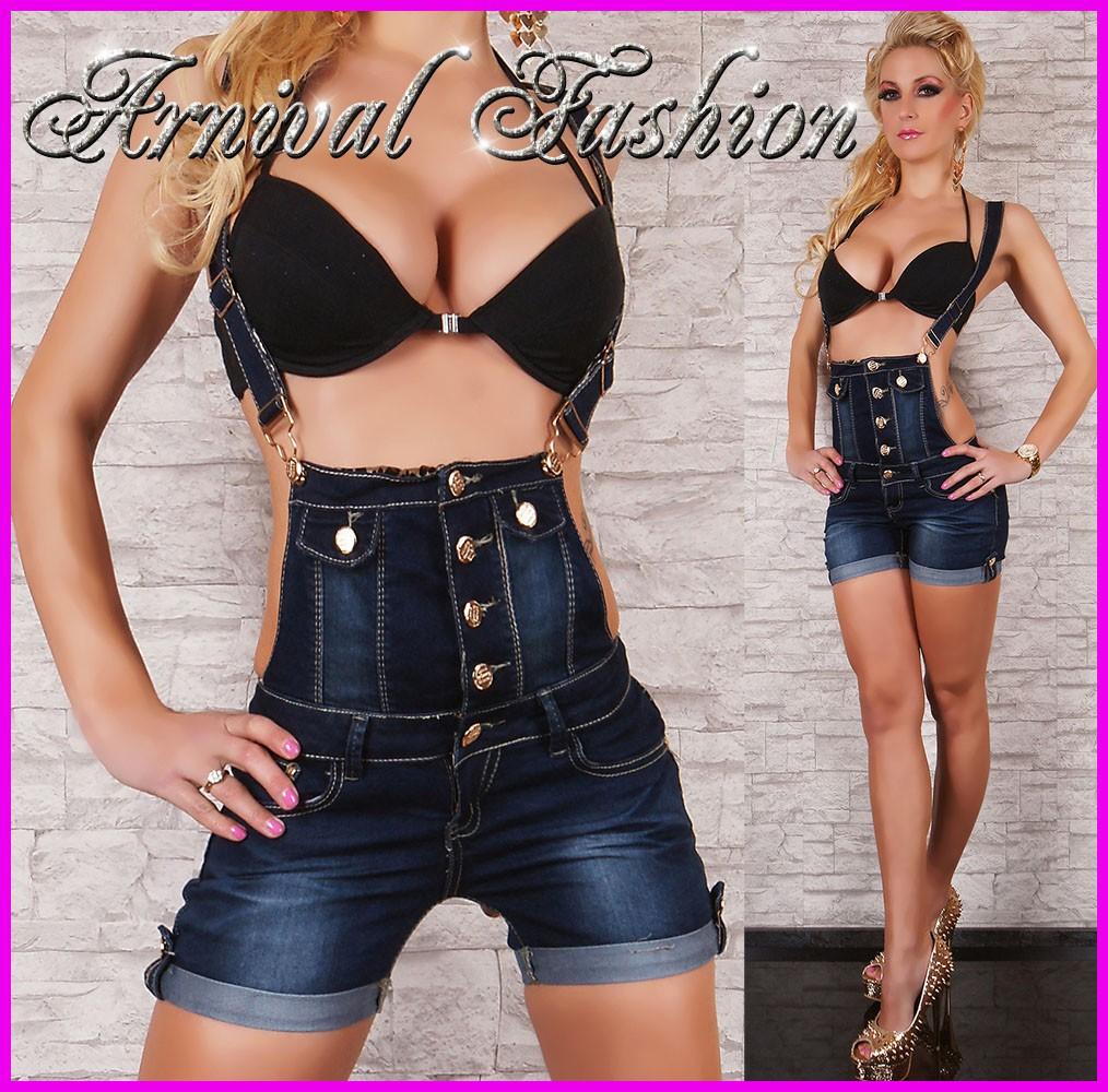 new sexy dark blue bib jeans shorts womens denim hotpants short jean pants trend ebay. Black Bedroom Furniture Sets. Home Design Ideas