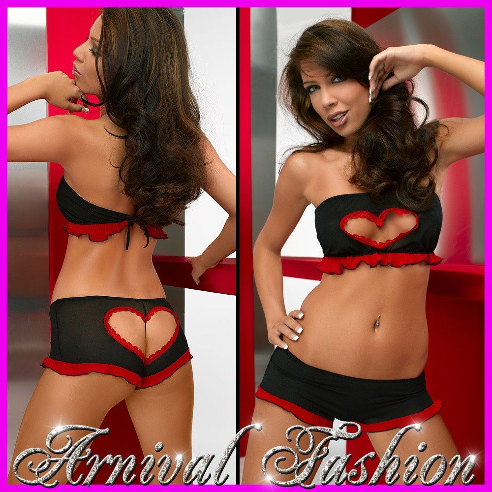 NEW sexy 2 PIECE mesh BRA PANTY SET european lingerie BLACK RED ...