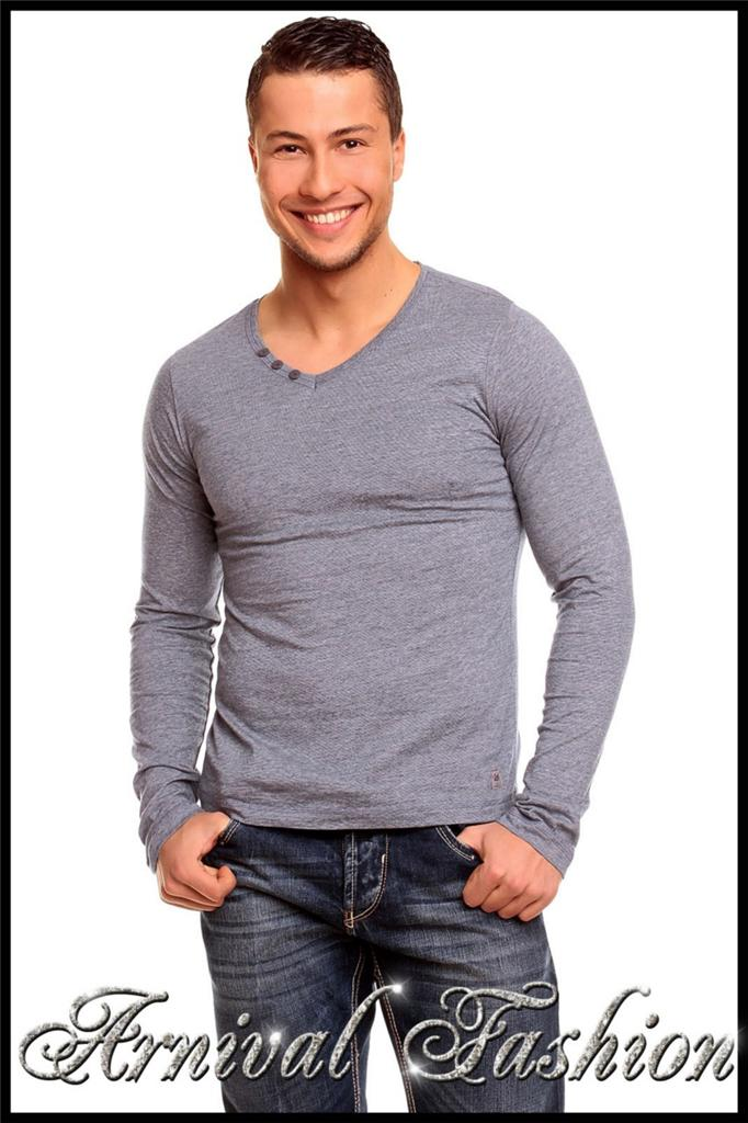 New mens long sleeve shirts for men casual wear clothing for Best v neck shirts