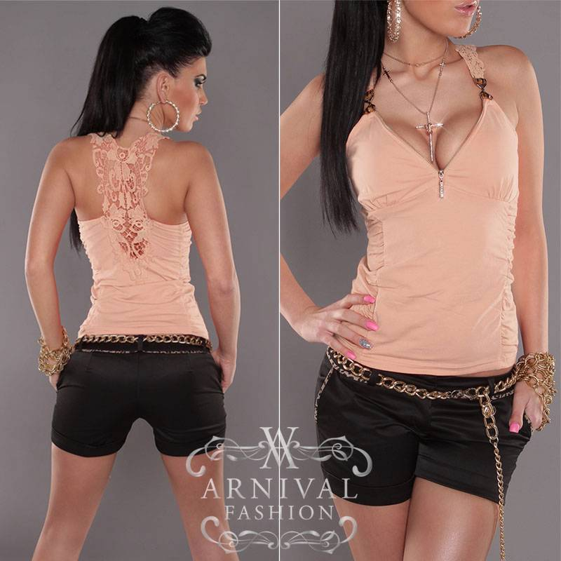 NEW sexy SLEEVELESS V-neck SHIRT LACY BLOUSE 6 8 10 12 womens LACE TOP XS S M L