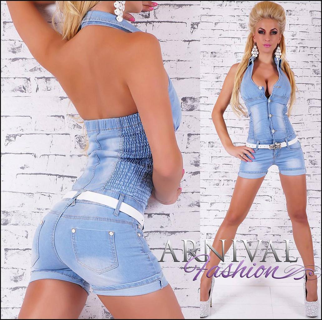 NEW BELT + halter JUMPSUITS women BLUE DENIM SHORTS short overall PANTS outfit | eBay