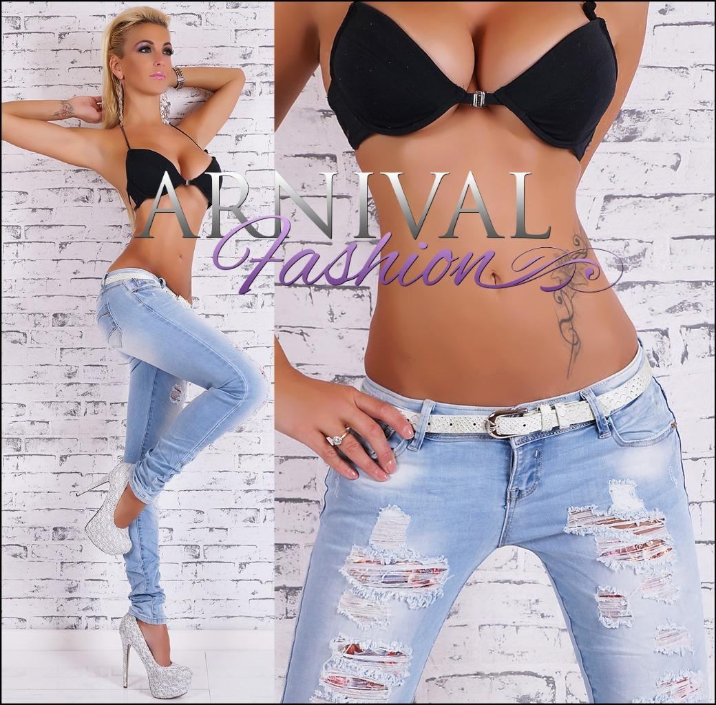 NEW HOT WOMENS DESTROYED JEANS + belt LADIES DENIM JEAN HOT PANTS sz XS S M L XL