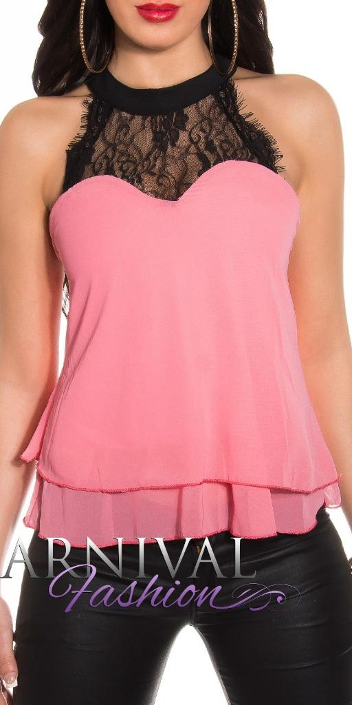 SEXY-WOMENS-SHIRT-BLOUSE-XS-S-M-LADIES-SLEEVELESS-LACE-TOPS-LOOSE-HALTER-NECK-AU