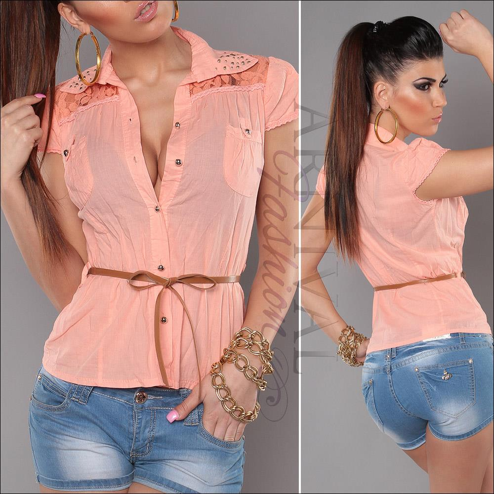 NEW BELT + SEXY lacy TOPS for girls casual SHIRT ladies short ...