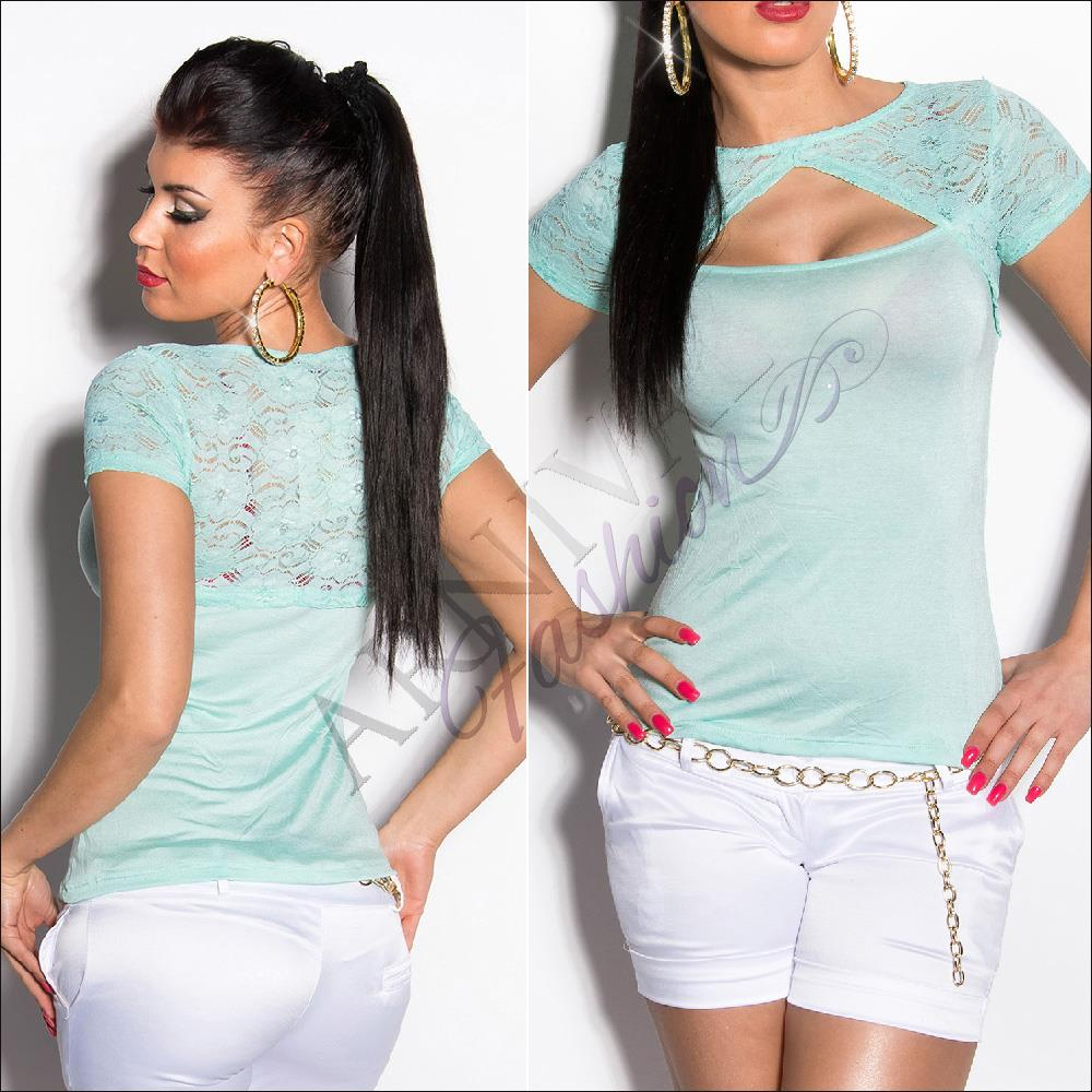WOMEN-lacy-DANCE-TOP-T-SHIRT-XS-S-M-short-sleeve-lace-SEXY-CASUAL-blouse-SUMMER