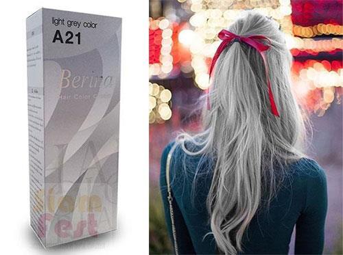 Berina Permanent Color Hair Dye Cream Light Grey # A21 Free Shipping!! 854445721 o