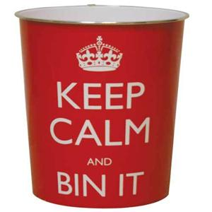 Red or black keep calm and bin it waste paper basket for Red bathroom bin