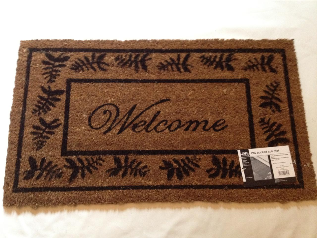 Large Welcome Door Mat Indoor Outdoor 100 Coir Floor