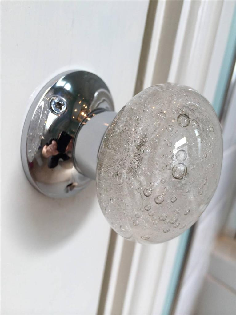 beautiful pair of large bubble glass mortice door knobs. Black Bedroom Furniture Sets. Home Design Ideas
