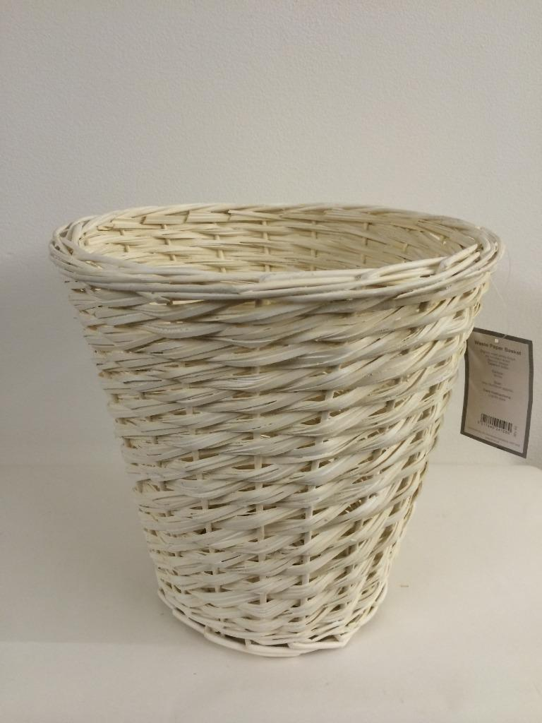 White buff cream wicker wood waste paper basket matt for Waste baskets for bathroom