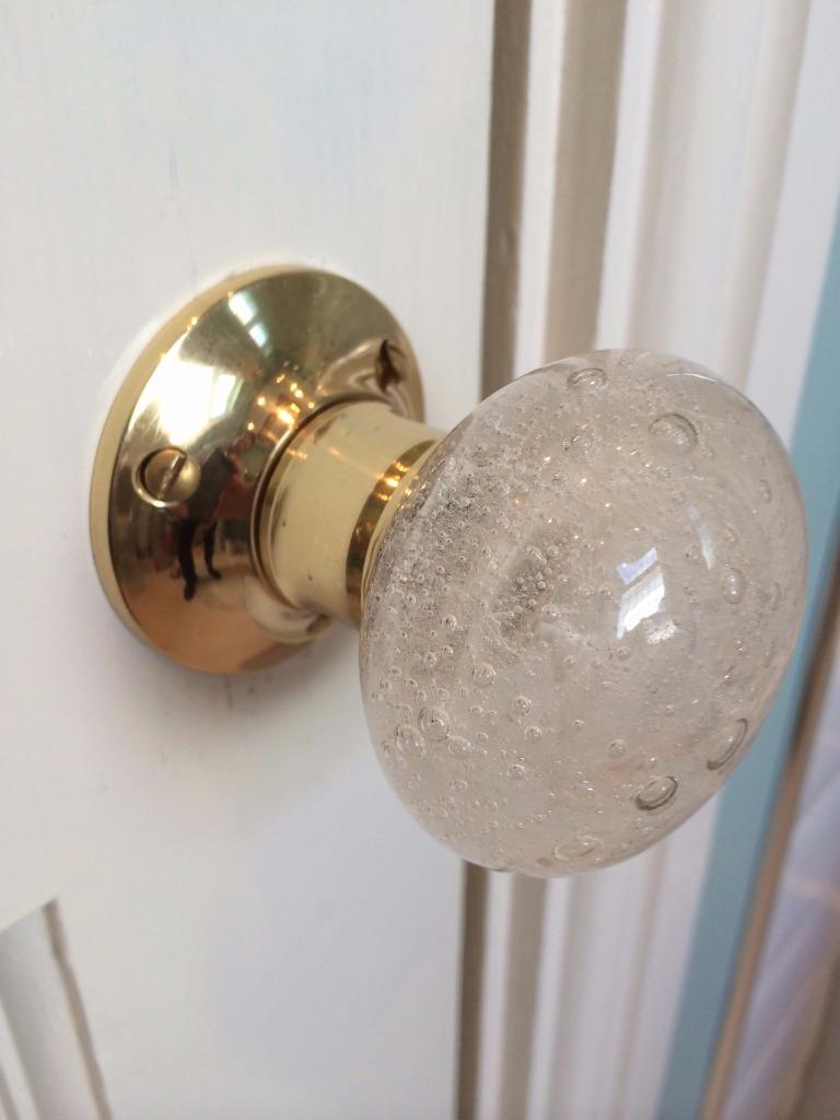 Beautiful pair of large bubble glass mortice door knobs for Small door knobs and handles