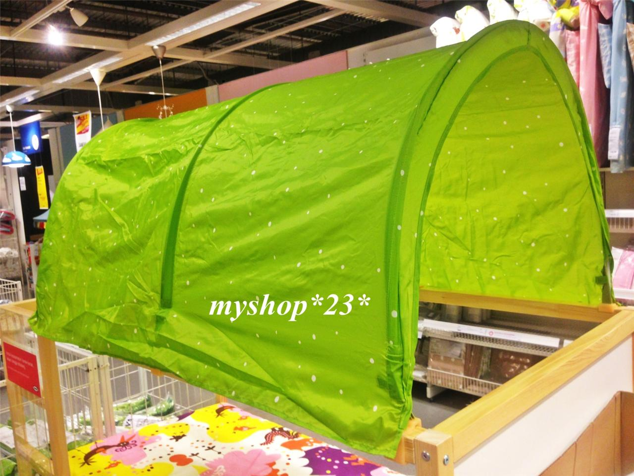 Image is loading IKEA-KURA-Baby-Kids-Children-Bed-Canopy-Tent- & IKEA KURA Baby Kids Children Bed Canopy Tent Green White Star Play ...