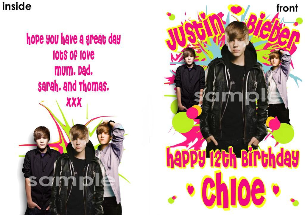 Personalised Birthday Card Justin Bieber Print More Ebay