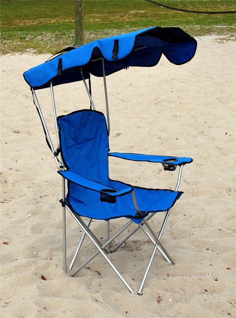 FOLDING CANOPY CHAIR BEACH CAMPING CHAIR XL OUTDOOR CHAIRS BLUE