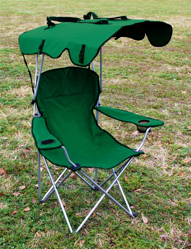 2 X FOLDING CANOPY CHAIR BEACH CAMPING CHAIR XL OUTDOOR CAMP CHAIRS GRE