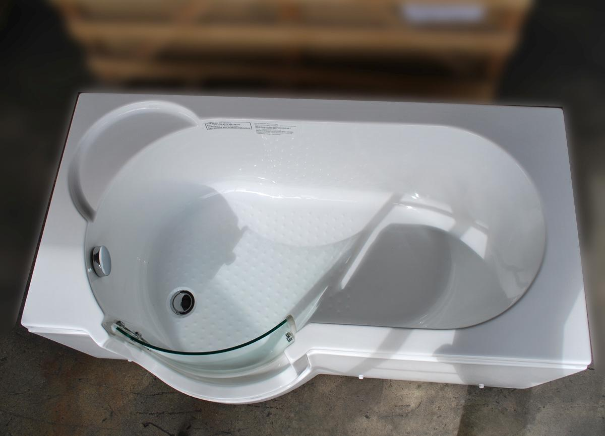 30x60 Step In Bathtub W Glass Door White Soaking Bath Tub Left Drain EBay