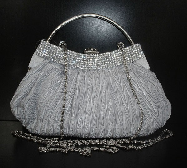 SILVER SATIN DIAMANTE CLUTCH BAG EVENING BRIDAL PROM UK | EBay