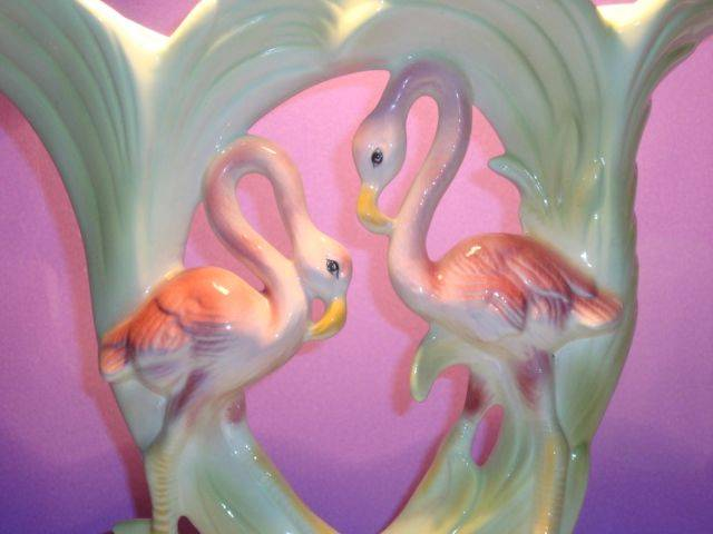 RETRO-KITSCH-ART-DECO-STYLE-PINK-FLAMINGO-LARGE-DOUBLE-CORNUCOPIA-POTTERY-VASE