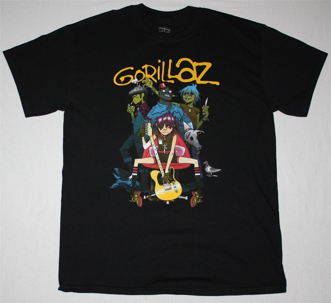 GORILLAZ-BAND-ALTERNATIVE-HIP-HOP-ROCK-BRIT-BAND-BLUR-ALBARN-NEW-BLACK-T-SHIRT