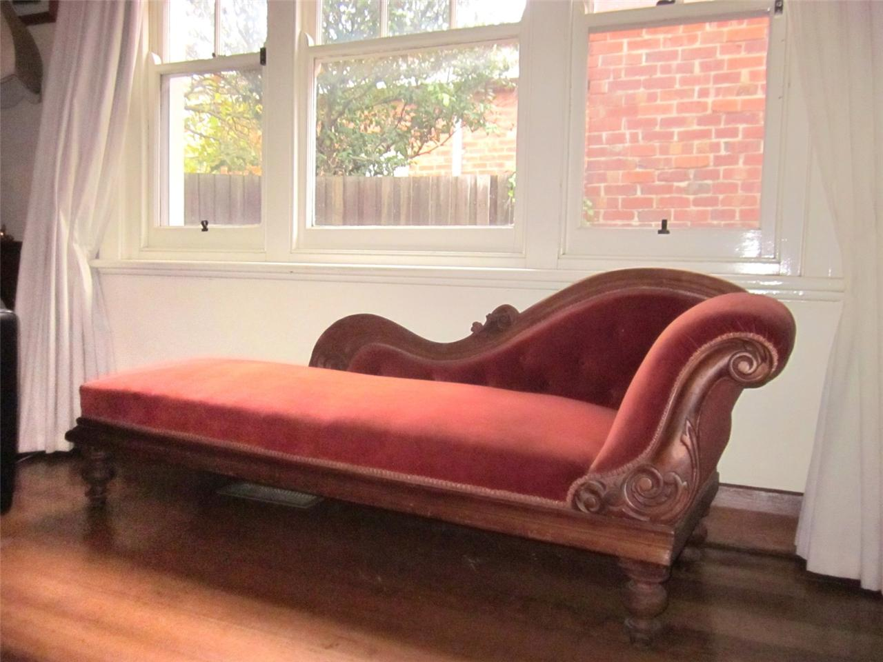 Antique carved cedar button back chaise lounge sofa couch for Antique chaise lounge sofa
