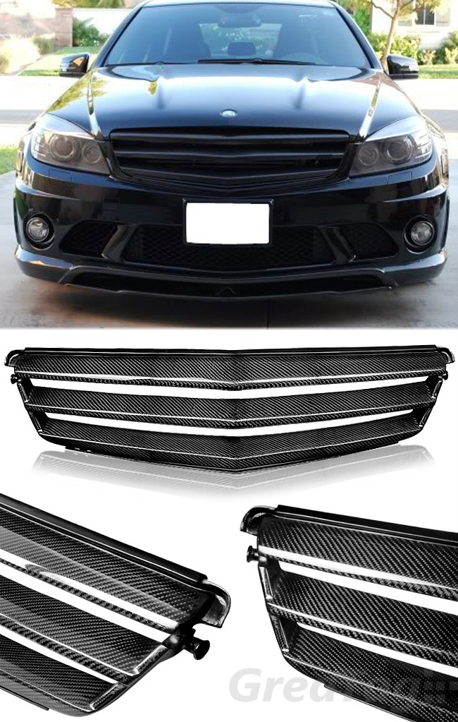 For 08 12 mercedes benz w204 c class c300 c350 carbon for Mercedes benz c300 grill