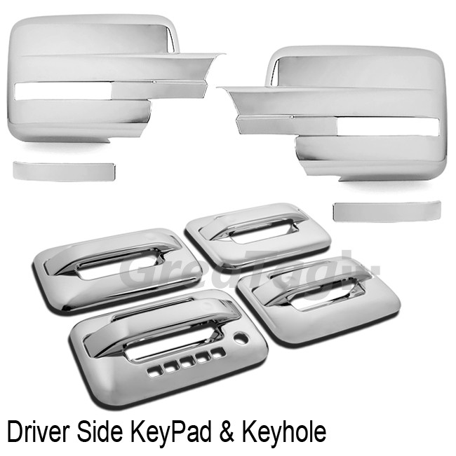09 10 11 12 Ford F150 Pickup Chrome Door Handle Mirror Cover with Signal Cutout