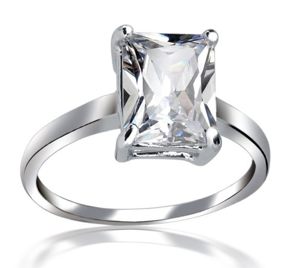 sterling silver emerald cut cz solitaire engagement ring