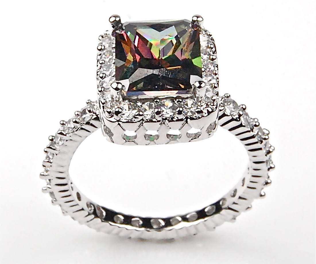 sterling silver emerald cut mystic topaz and white cz