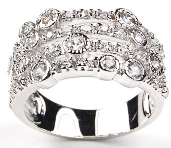 pave sterling silver wide band vintage antique cz wedding