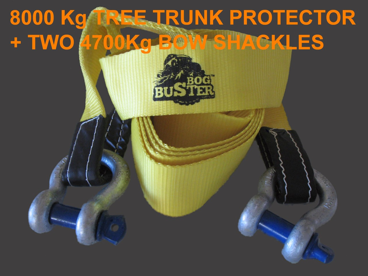 2-X-4-7-T-BOW-SHACKLES-AND-8-TONNE-TREE-TRUNK-PROTECTOR-TOW-STRAP-RECOVERY-4X4