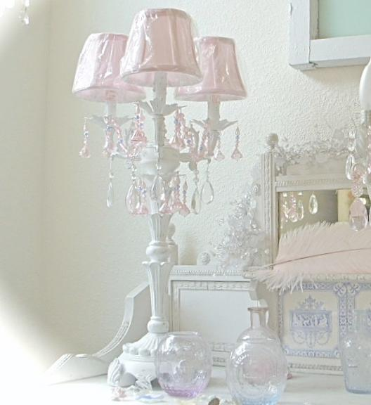 Candelabra white table lamp chandelier pink crystal prisms chic nw