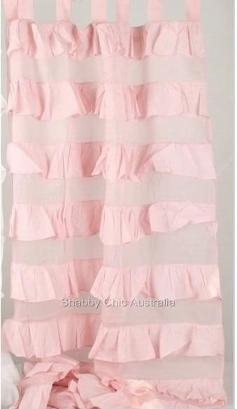 Ruffle curtains drapes sheer pink 2 ruffled panels chic ebay
