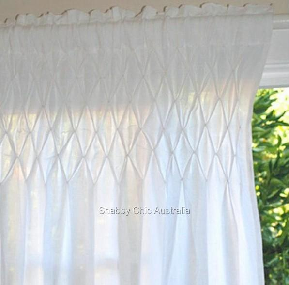 Shabby french provincial curtains drapes 2 white vintage Shabby chic curtain window