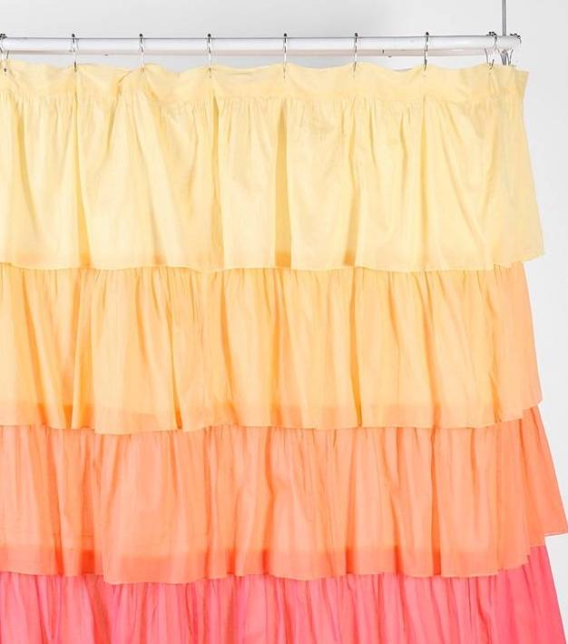 Shabby Flamenco Chic Ruffled Ombre Yellow Orange Pink Ruffle Bath Shower Curtain Ebay