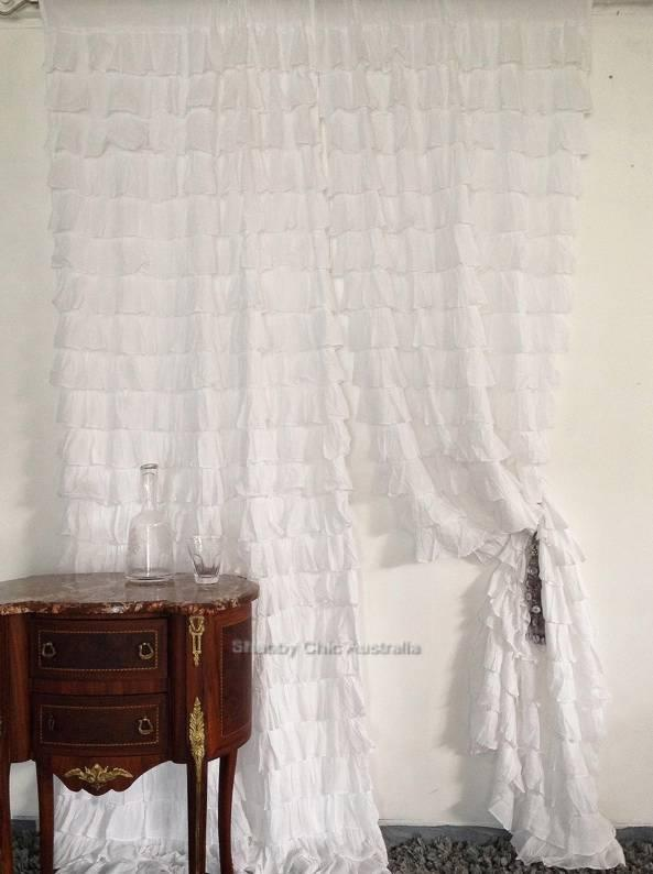 French Chic Shabby Cottage Chic Dreamy Pretty In Pink Ruffle Shower Curtain New Ebay