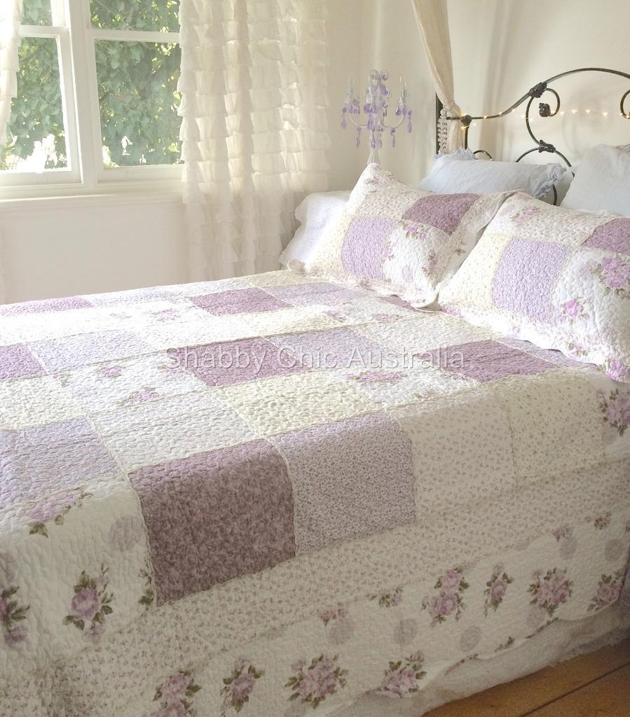 King Bed Country Lavender Shabby Rag & Roses Chic