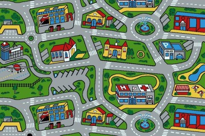 kids car road non slip play mat rug x large ebay. Black Bedroom Furniture Sets. Home Design Ideas