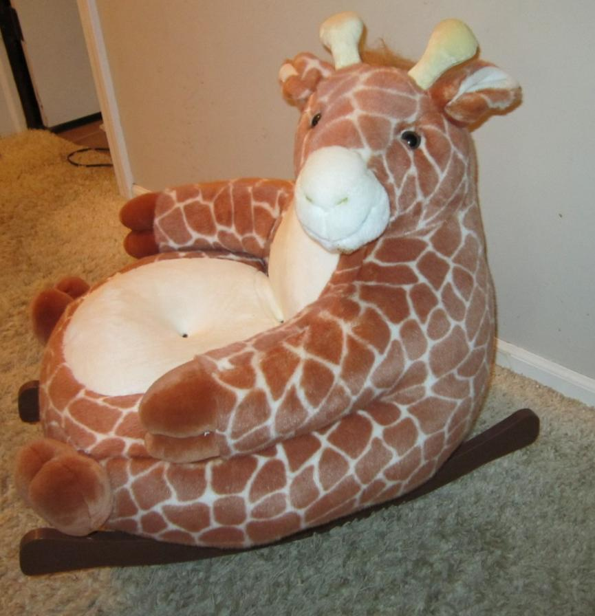 Details about Adorable Childs Plush Giraffe Rocking chair