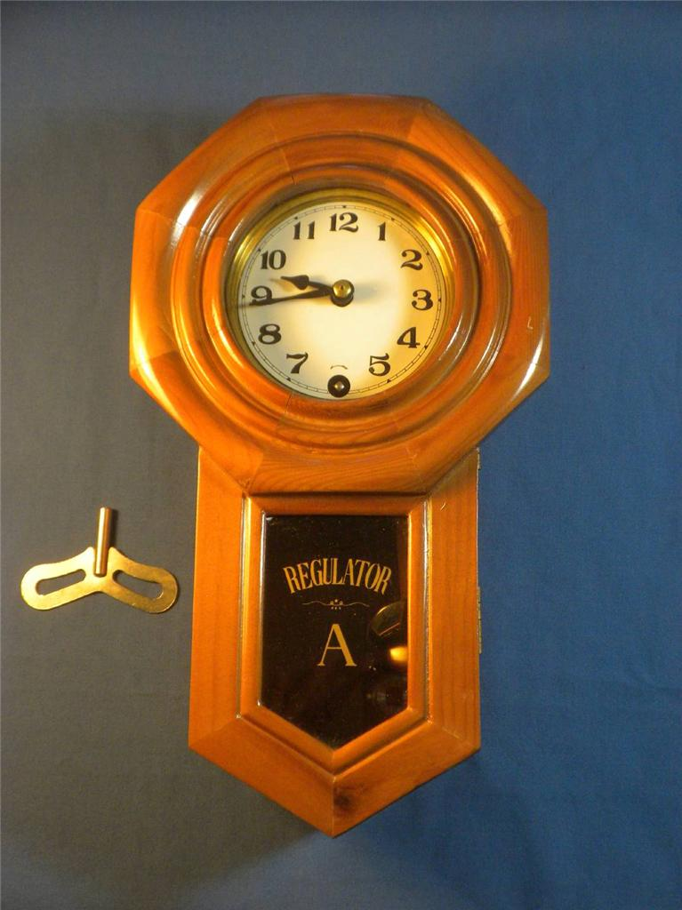 Regulator pendulum wall clock german movement with key ebay for German pendulum wall clocks