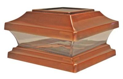 copper outdoor led solar fence 6x6 inch post cap light ebay. Black Bedroom Furniture Sets. Home Design Ideas