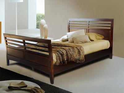 Sleigh Queen  on Vifah Berkshire Walnut Wood Queen Size Sleigh Bed Frame   Ebay