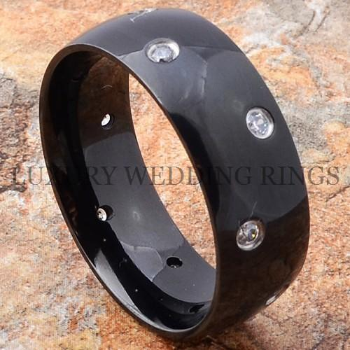Mens Titanium Wedding Ring Diamond Band Black Size 613 eBay