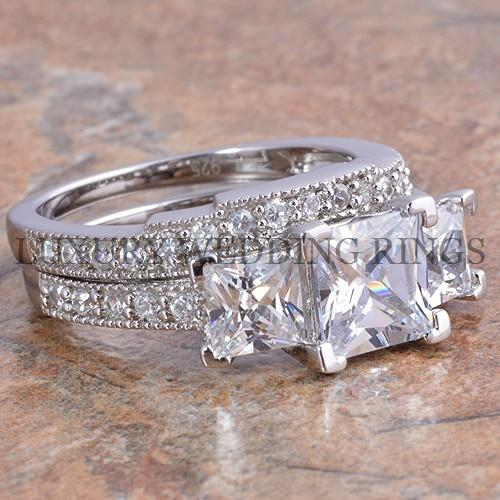 375Ct Princess Cut 3 Stone Engagement Wedding Ring Set Womens Bridal Jewelry