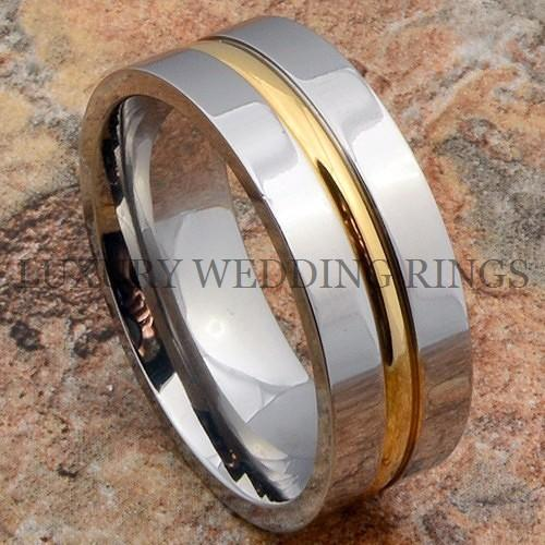 Titanium-Ring-14K-Gold-Line-Mens-Wedding-Band-His-Her-Bridal-Jewelry-Size-6-13