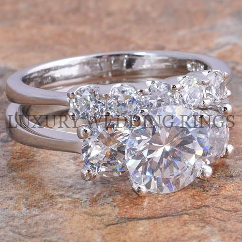 3 5 Ct Round Cut Diamond Simulated Engagement Ring Wedding Bridal Set Size 5