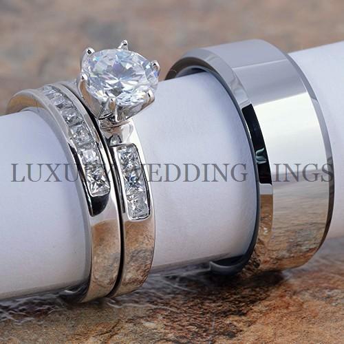 3PCS Womens Wedding Rings Set Amp Tungsten Ring Mens Wedding Band Bridal Jewelry