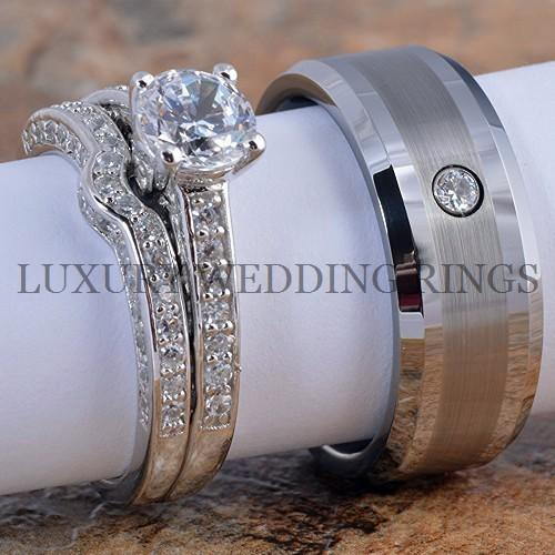 3pcs Engagement Rings Set 8mm Mens Tungsten Diamond Wedding Band Ring