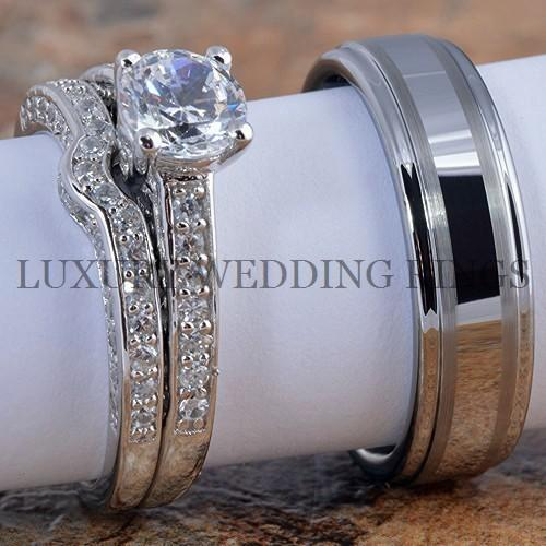 3pcs Women39;s Engagement Wedding Ring Set Mens Tungsten Band Bridal