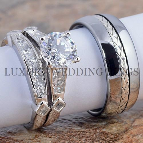 3pcs Women39;s Wedding Engagement Ring Set Tungsten Men39;s Band Silver