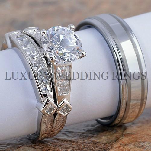 3pcs Wedding Engagement Rings Women39;s Set Tungsten Men39;s Ring Bridal